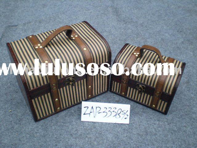 large leather wooden boxes