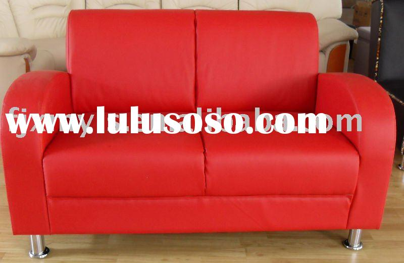 red color two seater leather sofa