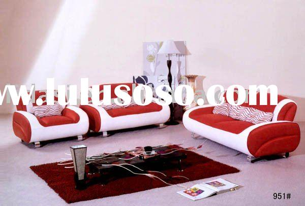 white and red modern solid wooden leather sofa set 951