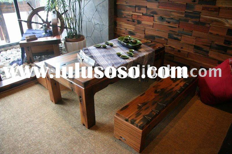 wooden tea table set