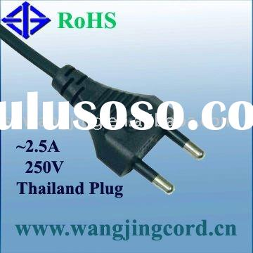 Thailand Standard TIS Approval power supply cord/cable 2-PIN PLUG