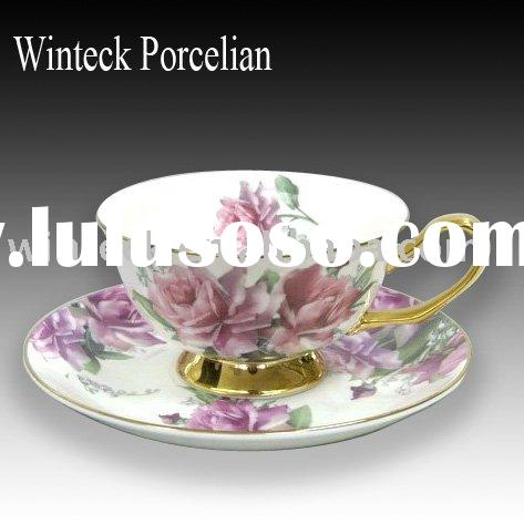 Wholesale Decal Bone China Tea Cups and Saucers