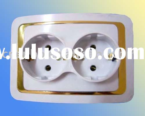 electrical 2 gang wall socket with ground earth
