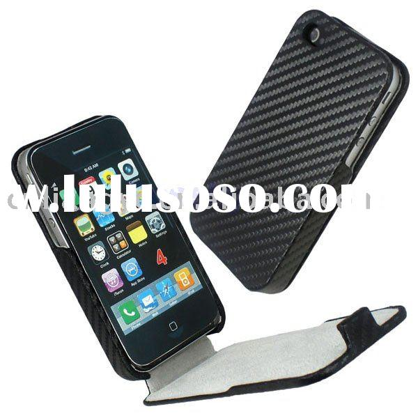 Flip  CARBON FIBER HARD LEATHER CASE for iPhone 4G(Paypal acceptable)