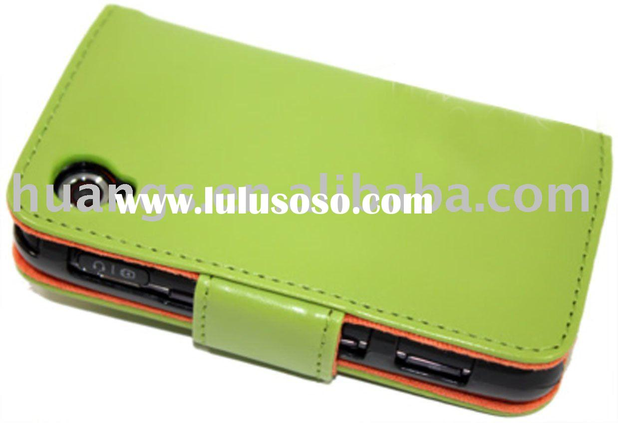 Green Wallet leather case for LG GT505
