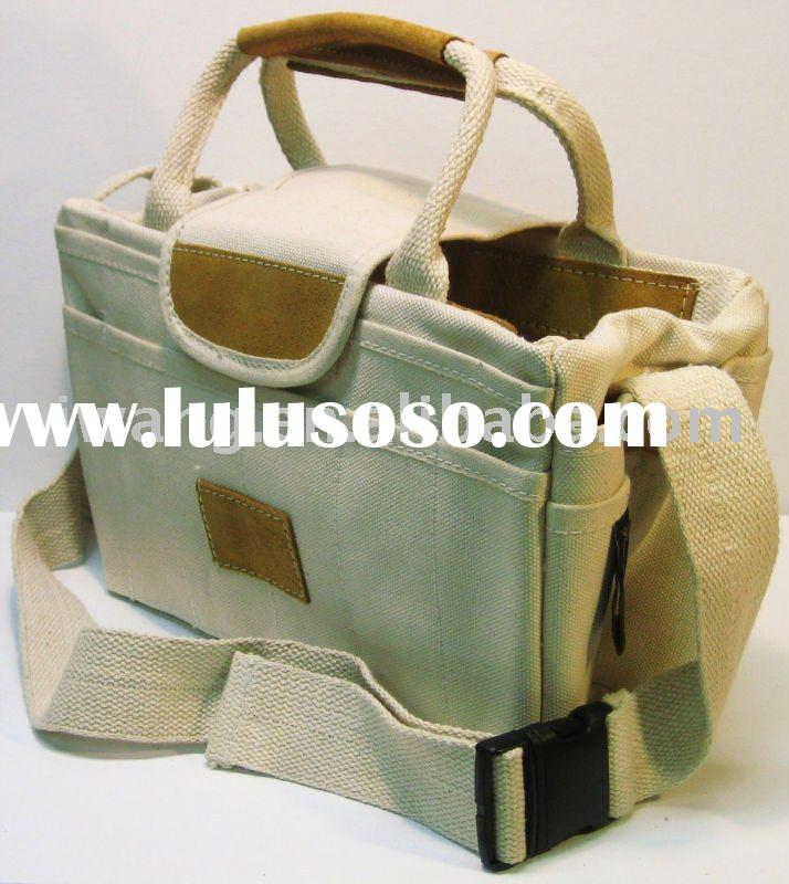 Heavy duty canvas rigger bag with leather trim