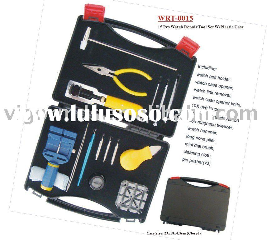 (WRT-0015) Watch Repair Tool Kit 15PCS in Plastic Case