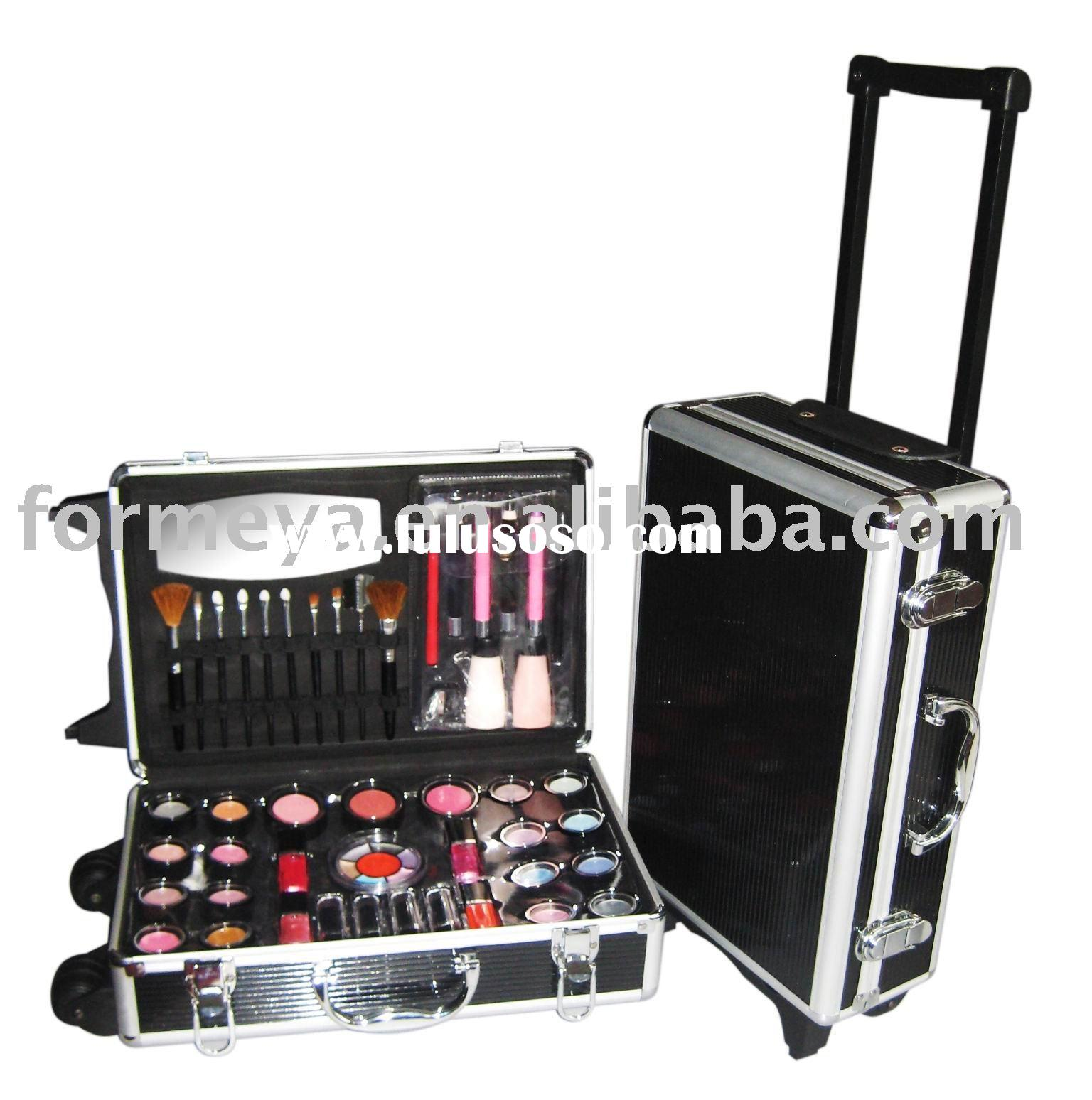 professional aluminum cosmetic trolley cases_cosmetic trolley cases with color cosmetic products