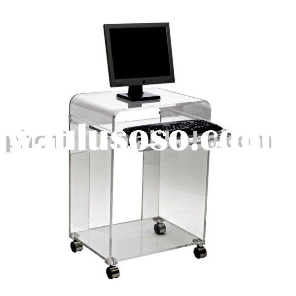 Clear Acrylic Computer Cart;Clear Acrylic Computer Desk;Clear Lucite Plexiglass Computer Table