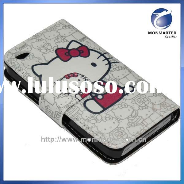 HELLO KITTY WALLET PATTERN LEATHER CASE FOR APPLE IPHONE 4(G)