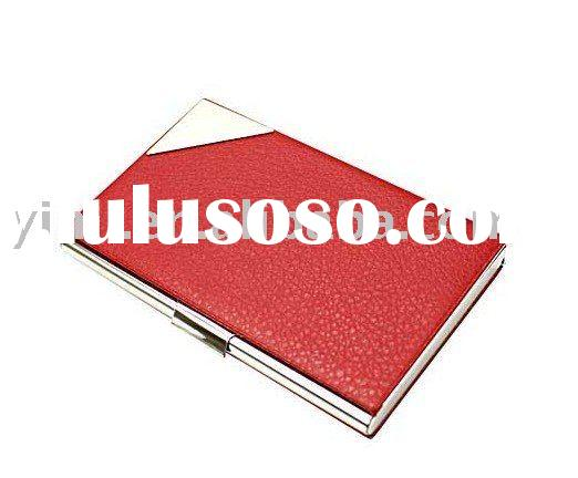 Red Leather Name Card Case