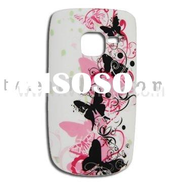 Soft TPU Skin Case for Nokia C3 with Butterfly and Flower Pattern