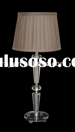 4 DIAMOND STACKS CLEAR K9 GLASS TABLE LAMP WITH PLUM TAPERED DRUM POLYSILK WIDE BOX PLEAT SHADE