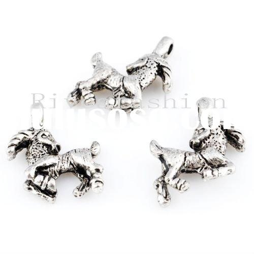 Best selling 2011 newest 15mm Antique silver fashion horse pendant wholesale jewelry exporter