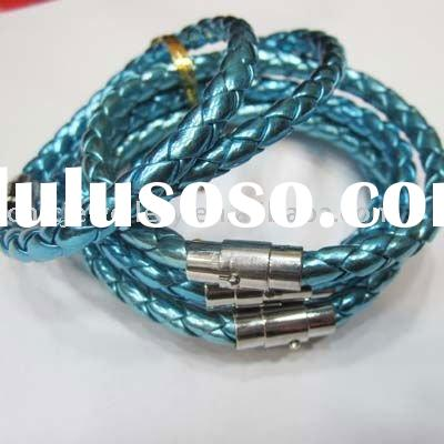 Colorful genuine leather jewellery for fashion designs with high qaulit alloy bracelets