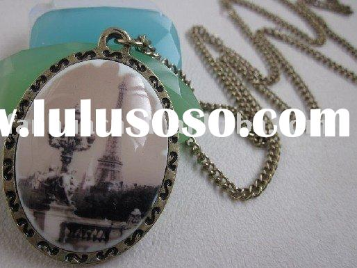 Fashion Eiffel Tower costume jewelry necklace&Vintage aulic  cameo necklace