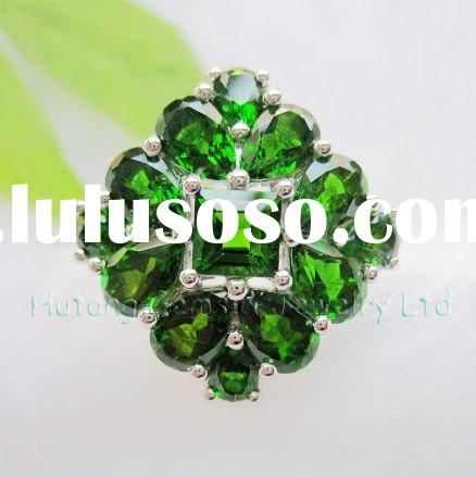 Fashion Jewelry set: silver ring with gemstone