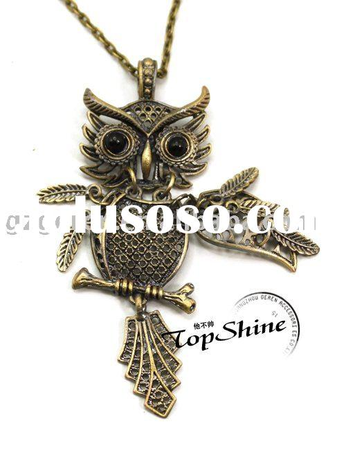 Fashion Necklace Vintage Necklace Owl Shape Long Necklace_D00321o