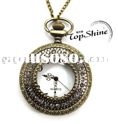 Fashion Retro/Vintage Necklace Round Shape Pocket Watch Necklace With Crystal_D00349o