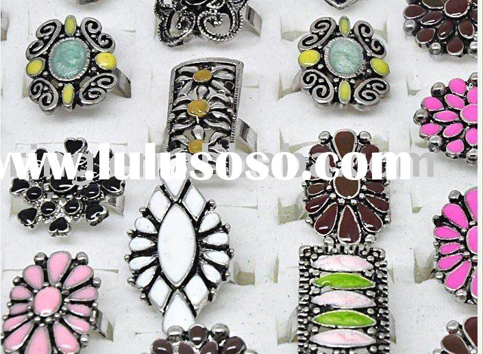 Fashion rings enamel vintage style adjustable rings
