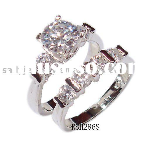 Hot selling 925 sterling silver ring set with diamands