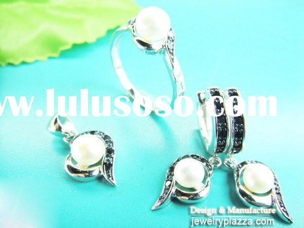 Low Wholesale Price rhodium plated  925 Sterling Silver simple CZ crystal pearl Rings NS014