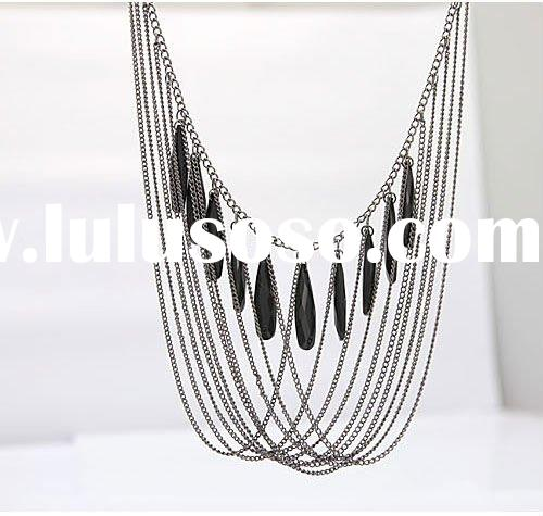 Top fashion silver chain necklace with black stone