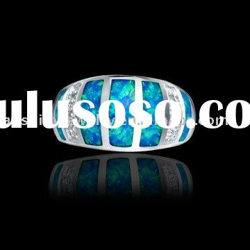 Wholesale 925 Sterling Silver Blue Fire Opal Ring
