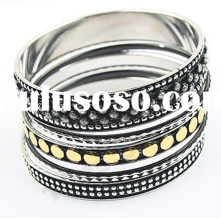 fashion antique silver metal bangle sets