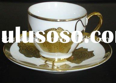 golden coffee & tea set,gold plated cups