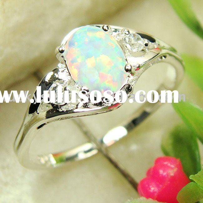 indian fashion jewelry white fire opal  gemstone ring