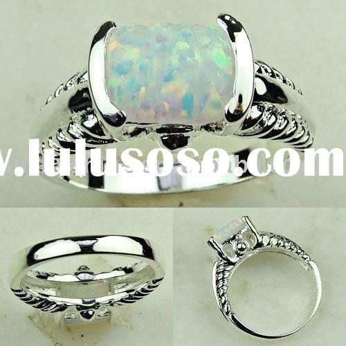 indian jewelry 925 silver fashion gemstone ring white fire opal