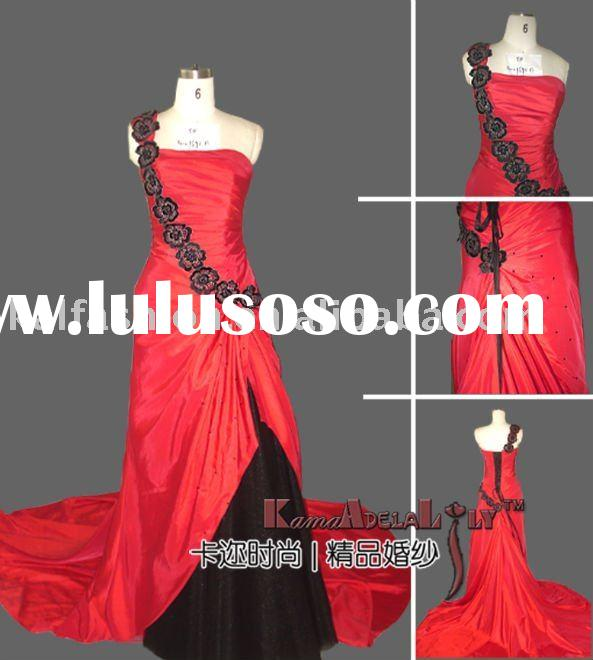 1696B Red and black embroidery lace evening dress bridal gown party dress