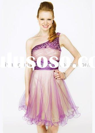 2010-2011 top fashion one shoulder purple organza homecoming dress