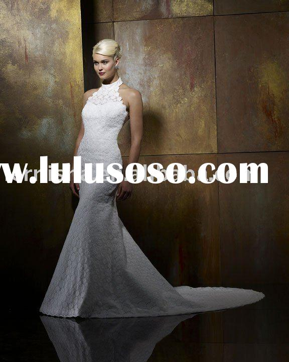 2010 Mermaid halter neckline with collar Wedding Dress (49238)