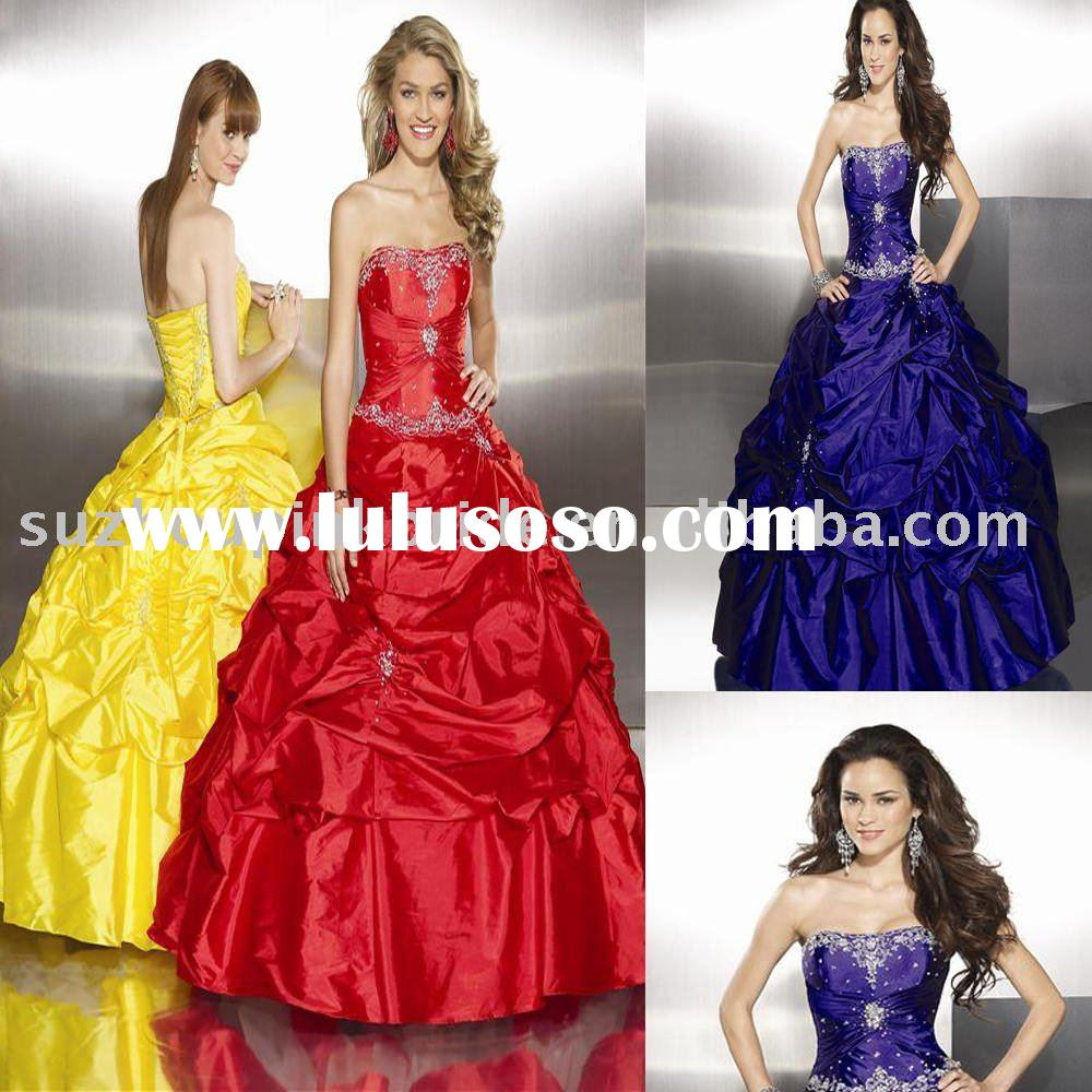 2010  Strapless  Lace Ball gown prom dress