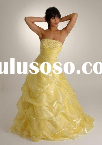 2010 Yellow Organza Strapless Prom Dress