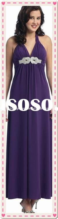2010 empire floor length sleevess strap purple prom dresses