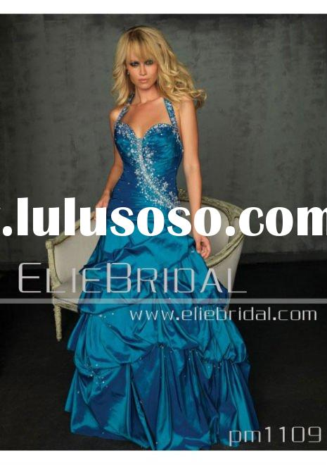 2011 Hot Sell jewelry blue Strapless Prom Ball Gown