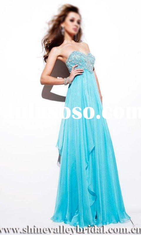 2011 New Cystal Designer Long Prom Dress,Girl's Dresses,PB3048,Blue
