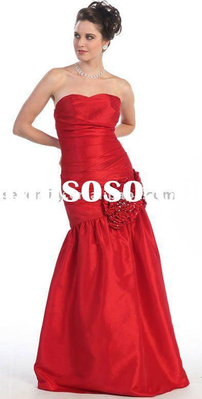 2011 New Red Taffeta Strapless Mermaid Style Prom Dresses