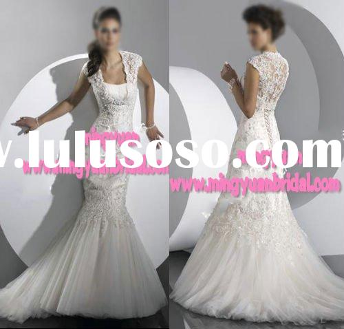 2011 Vintage Classic embroidered Trumpet/mermaid sleeveless Wedding Gown