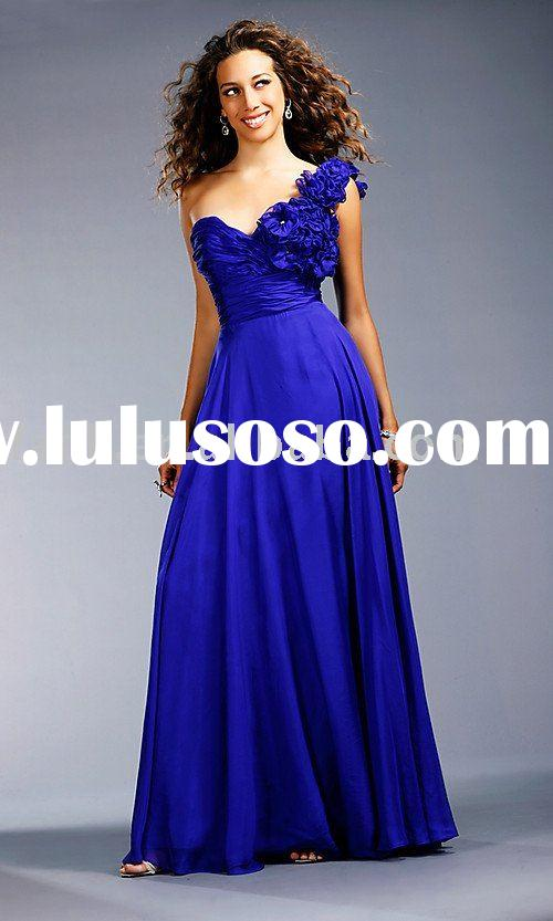 2011 amazing one-shoulder sapphire designer prom dress with floral accents