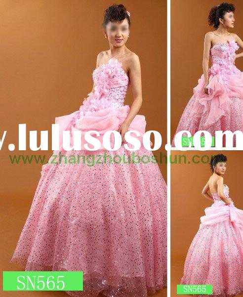 2011 classic pink beaded wedding gown