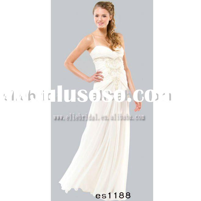 2011 fashionable white beaded prom gown