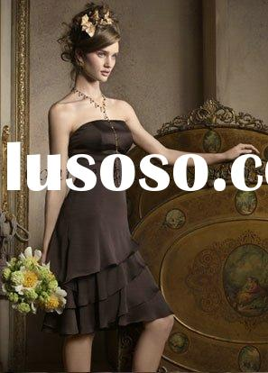 2011 formal knee length black cheap bridesmaid dress