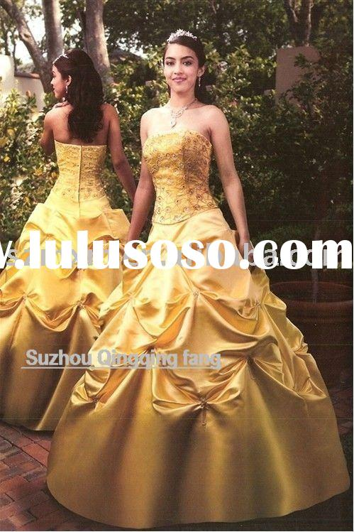 2011 high quality yellow  beautiful ball gown CU-04(MOQ 1 piece)
