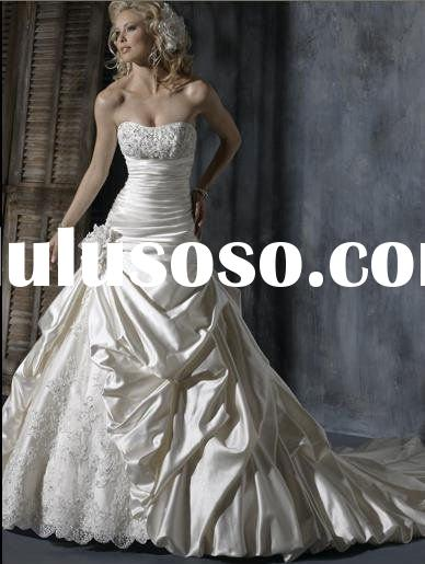 2011 hot selling white strapless mermaid satin wedding gown