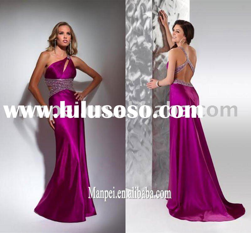 2011 new design flirt one-shoulder beaded roseo stain evening gown/prom dresses,MPP-016