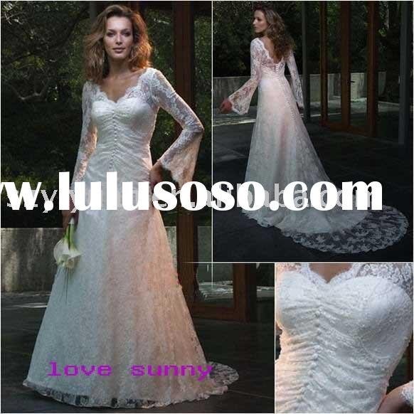 2011 new style long sleeve  Exquisite Bridal Wedding prom Gown